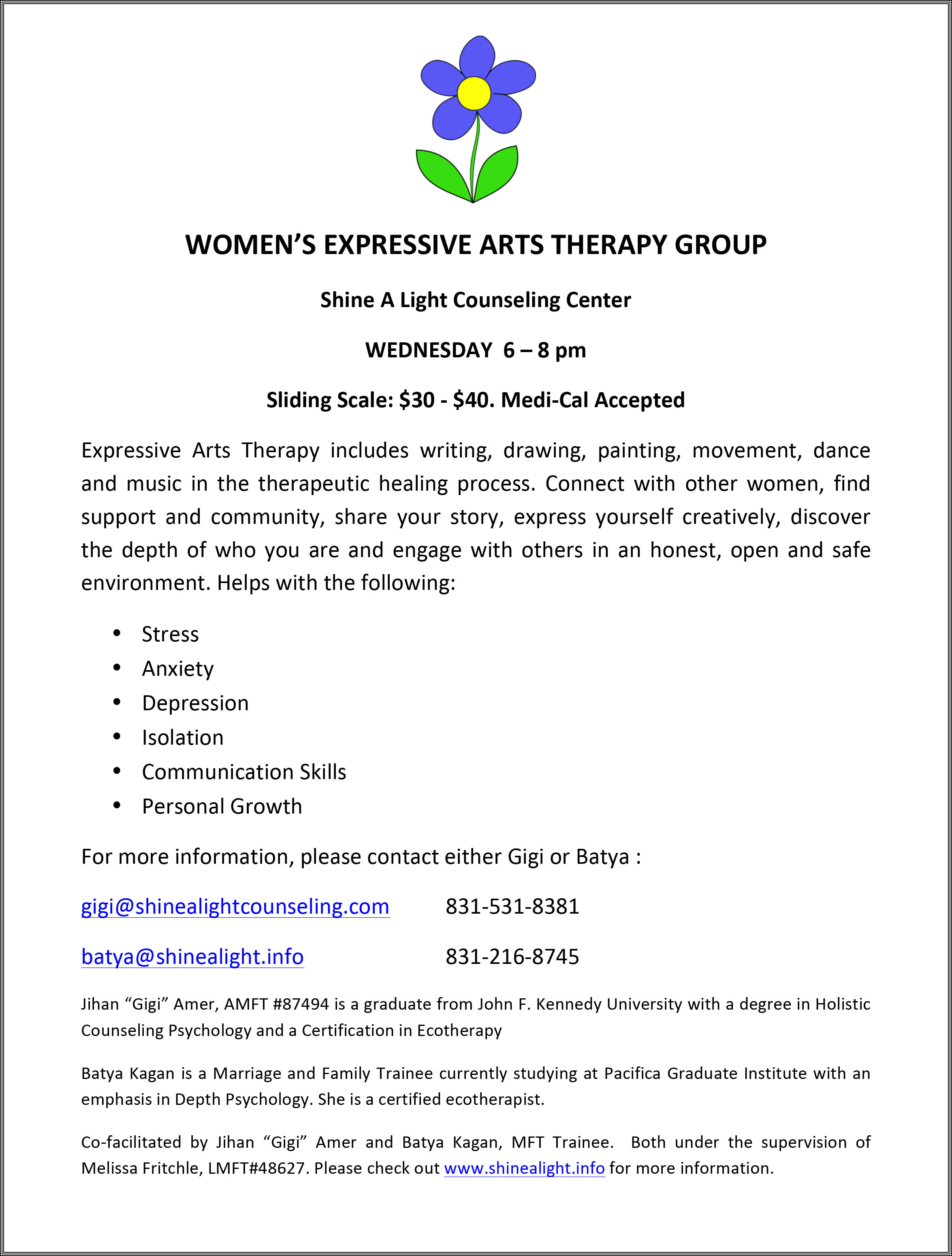 Expressive Arts Womens Group Shine A Light Counseling Center